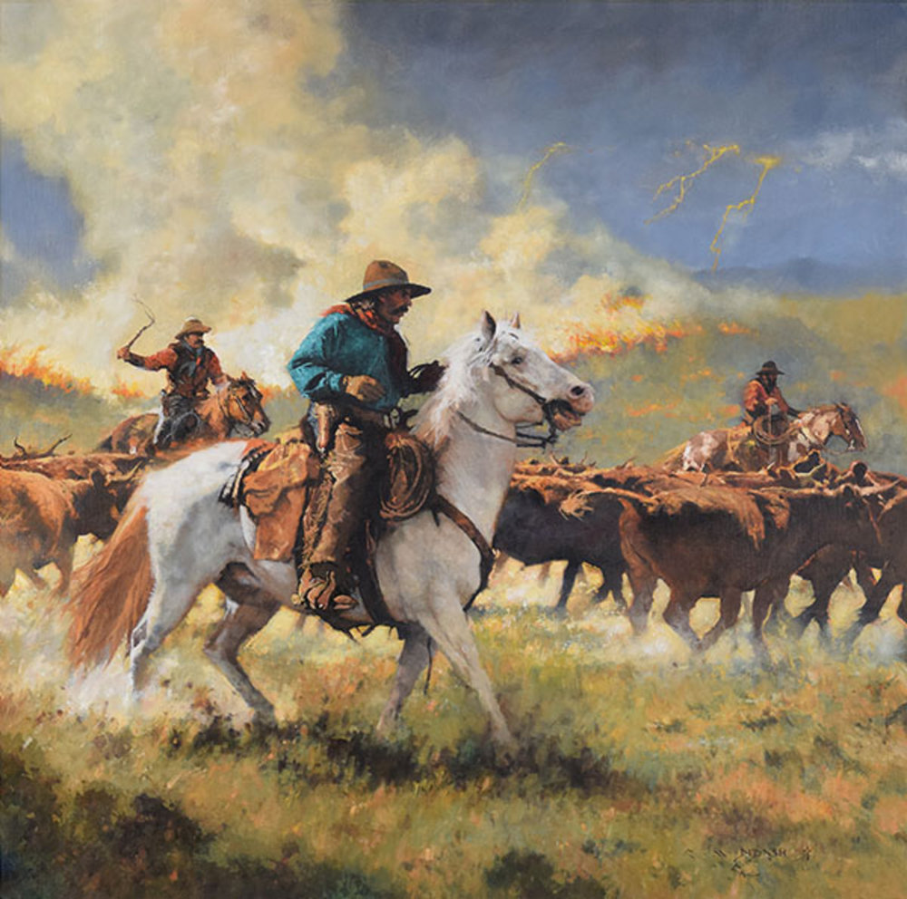 """*****SOLD*****  """"FIRE ON THE RIM!!"""" - oil on linen - 40"""" x 40"""" Sold at Settlers West Summer Show - Tucson, AZ"""