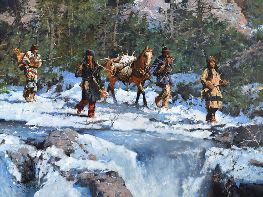 """*****SOLD*****  """"WINTER CREEK HUNTERS""""- oil on linen - 36""""h x 48""""w Sold at  An Exhibition and Sale to Benefit the C. M. Russell Museum  Great Falls, MT March 15-17, 2018"""