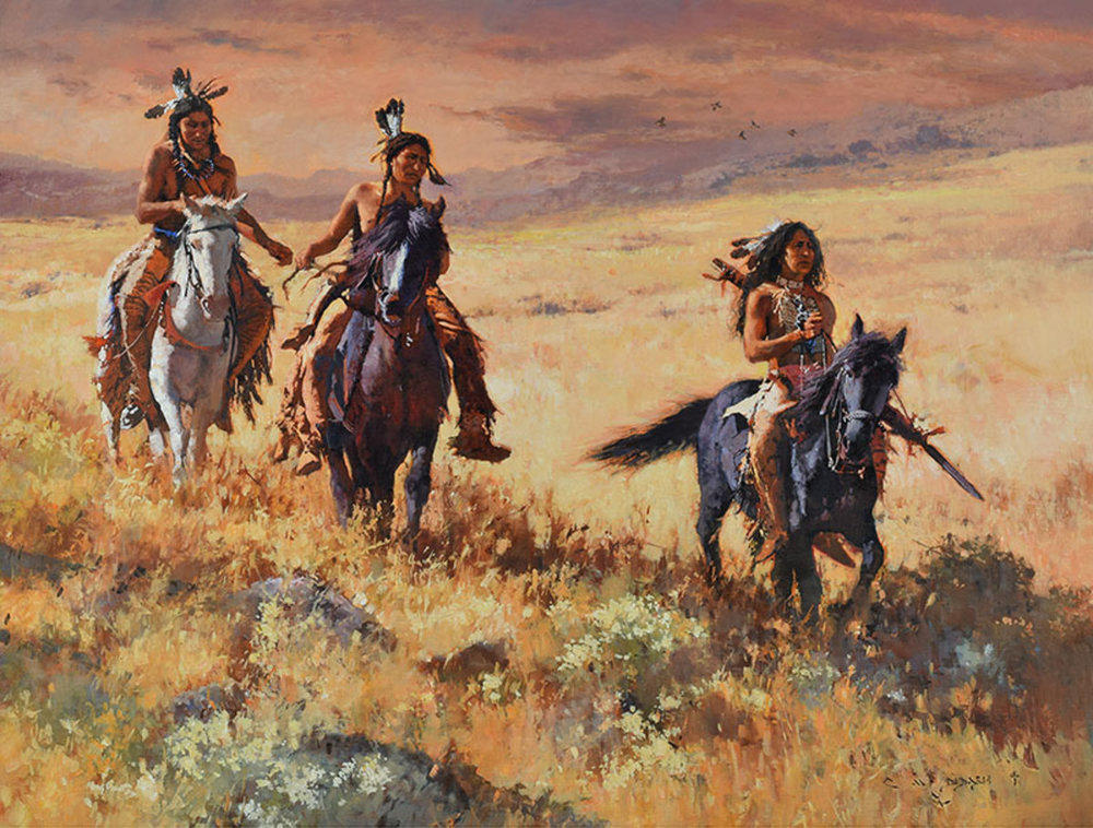 """*****SOLD*****  """"FOREVER THEY WERE FRIENDS"""" - oil on linen - 38"""" x 50"""" Sold at  The Briscoe Western Art Museum , """"Night Of Artists"""" March 23-24, 2018"""