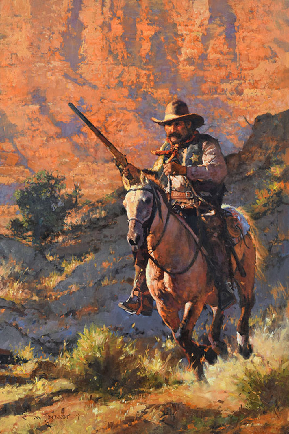 """""""ON THE OUTLAW TRAIL"""" - oil on linen - 36"""" x 24"""" Sold at  PRIX DE WEST  , The National Cowboy & Western Heritage Museum Oklahoma City, OK June 7-9, 2018"""