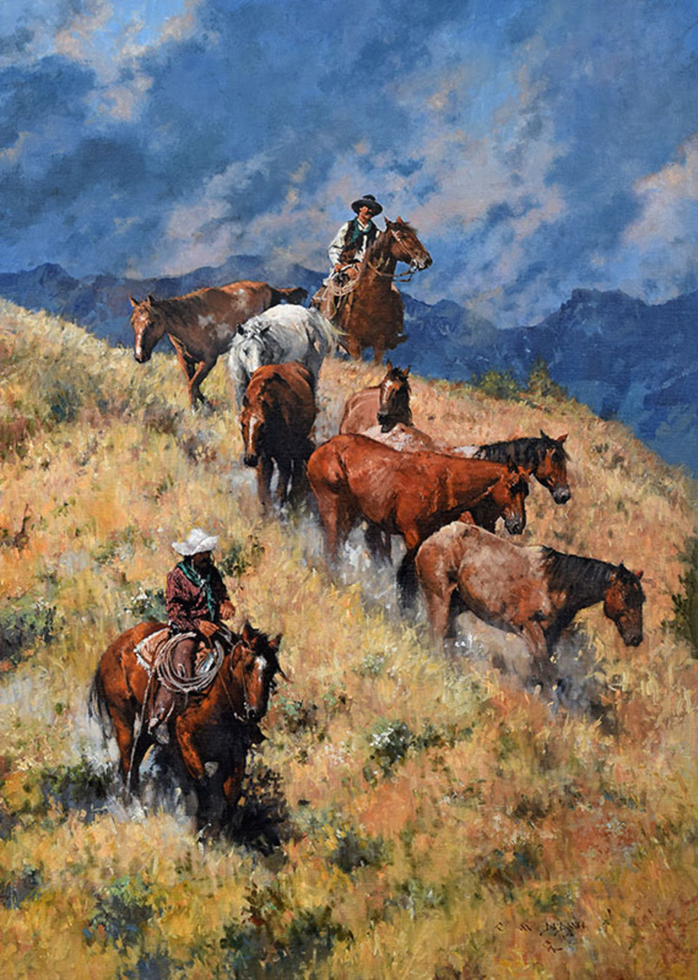 """REMUDA ROUNDUP"" - oil on linen - 42"" x 30"" SOLD at   Coeur d'Alene Art Auction  , July 28, 2018, Reno, NV"