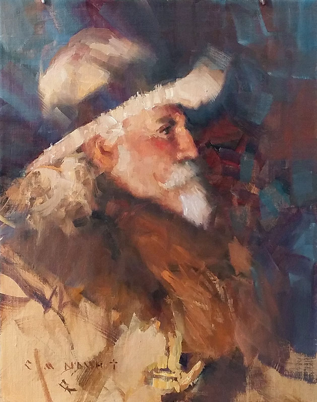 """""""BUFFALO BILL CODY""""  Oil on Linen  14"""" x 12""""  Done as a Quick Draw Painting for the C. M. Russell Museum Benefit, March 2018.  SOLD at auction."""