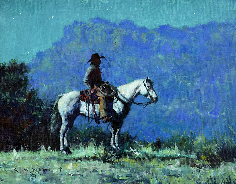"""""""MOONLIGHT ON THE 06""""  Oil on Linen  11"""" x 14""""  Done for Cowboy Artists of America Trailride on-line Art Show 2018  SOLD"""