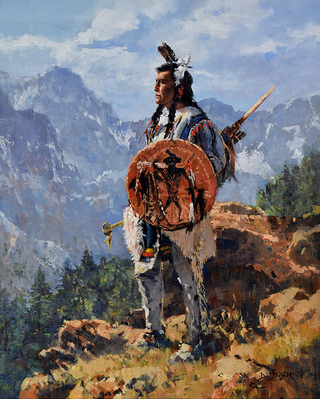 """ARAPOOSH (Grey Belly) - RIVER CROW CHIEF""  Oil on Linen  20"" x 16"" Commissioned Painting  SOLD"