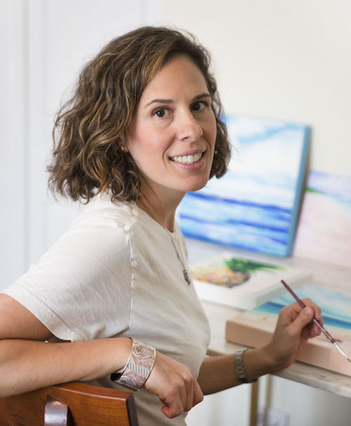 """Valerie Leuchs - Valerie Leuchs has been making art since childhood: sewing clothes with her mother, singing Little Orphan Annie at the top of her lungs, bedazzling tee shirts, and painting just about everything.She graduated from Boston College with a degree in Fine Arts. In 2002, she moved to New York City and worked in fashion, sales, and finance, though she's always been drawn back to creating art.Now the mother of two young boys, she's focused her career strictly on painting. Valerie is widely recognized for her bright Pineapples, New York City Palms, and colorful floral abstracts.Valerie paints using acrylics, ink, and pastels. Her work, like her personality, is bright and cheerful. She says, """"I strive to use as many colors of the rainbow in my art and see how they juxtapose against white space."""