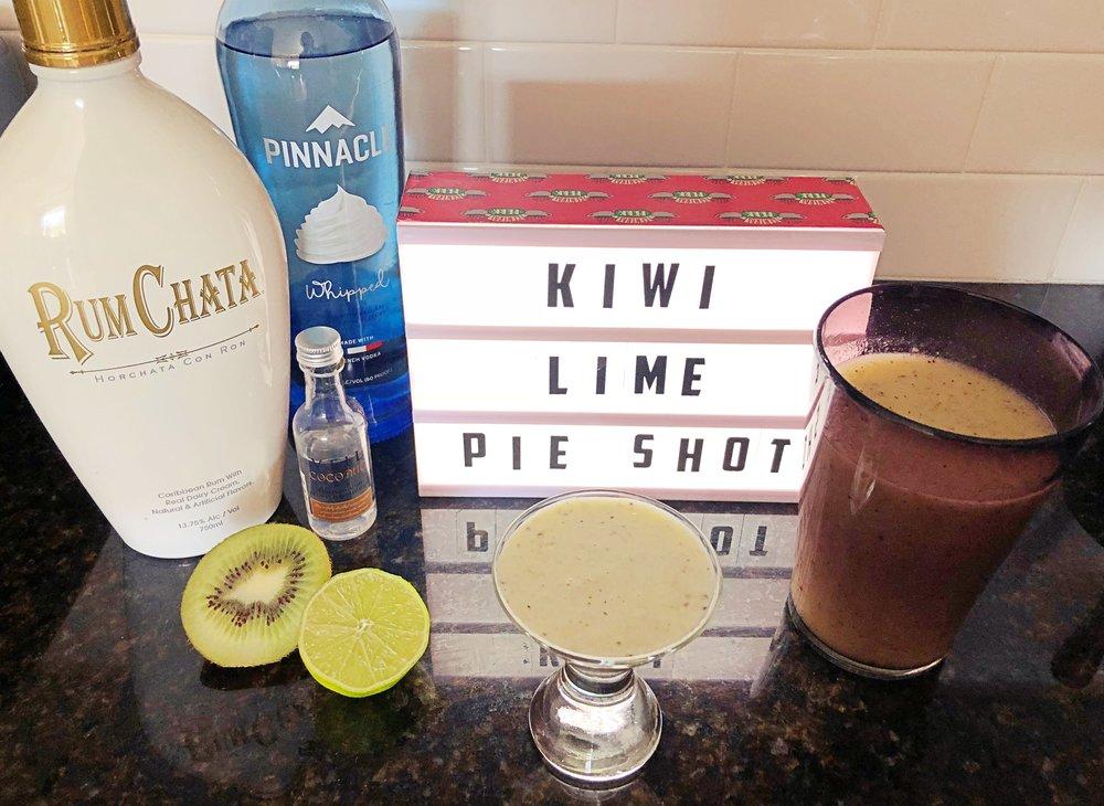 Heather's kiwi lime pie shot, shown with her kiwi smoothie