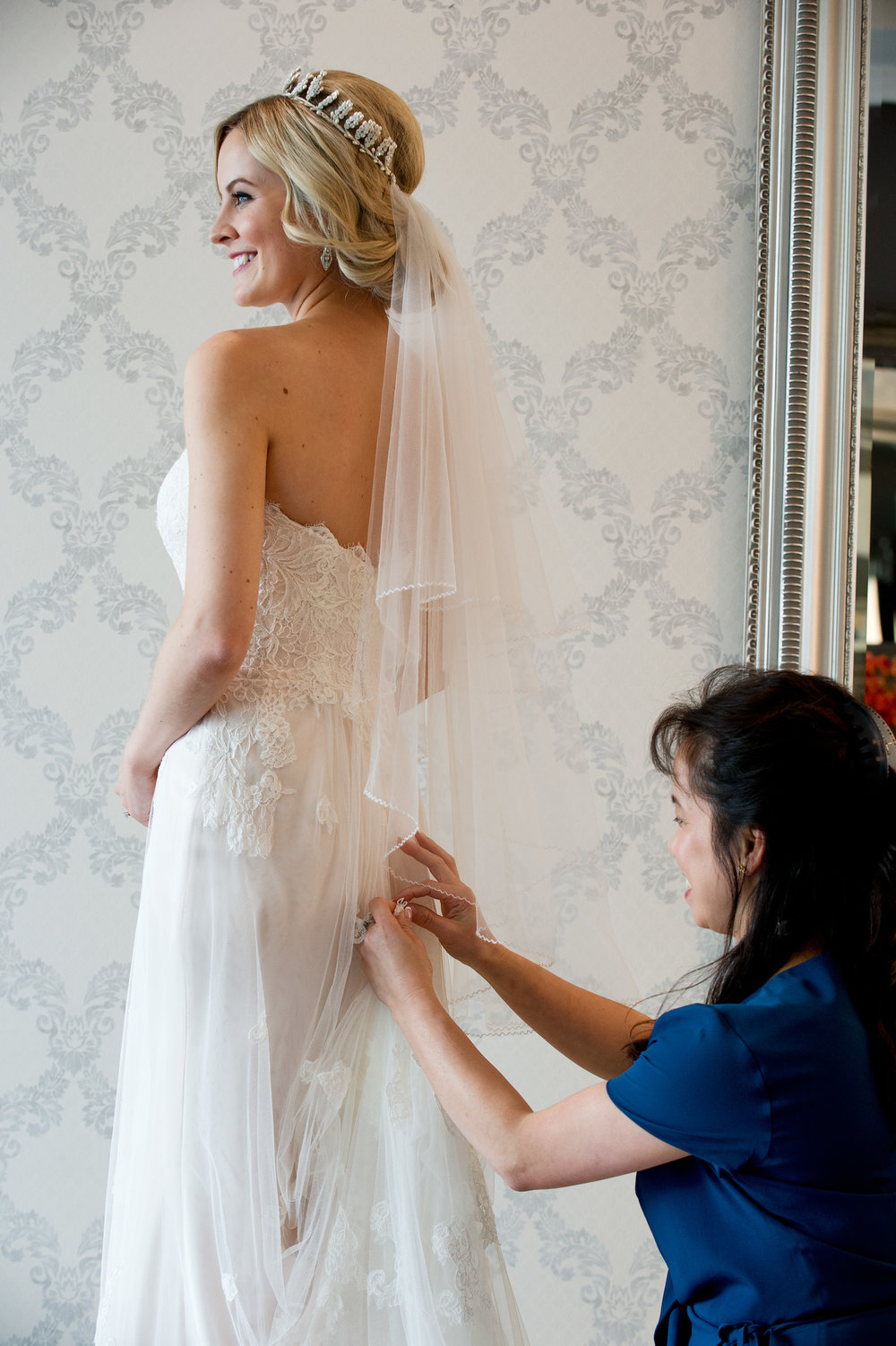 Mai with one of our beautiful brides, Michelle.