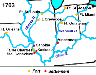 Forts captured by Clark are shown in red