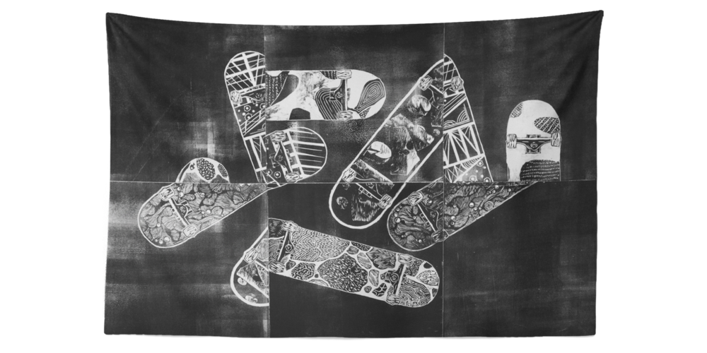 'Constructive Use of Time / Abstract', Cape Guardian Ad Litem Printfest 2017, 48'' x 72'' Relief Print