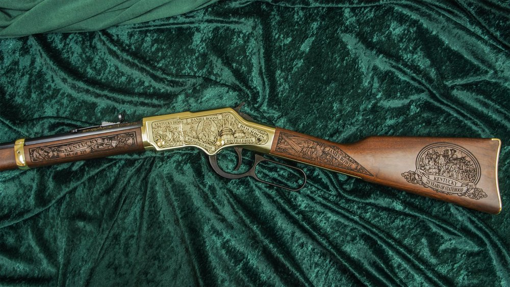 Left-side of Kentucky 225th Anniversary rifle shown in Standard shiny Henry Brasslite Finish