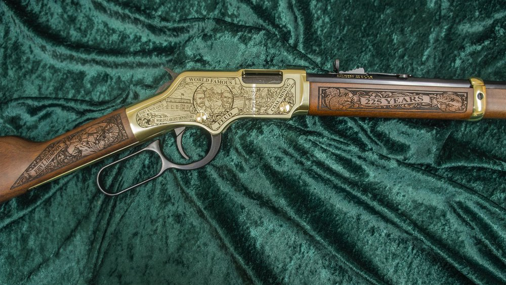 Right-side of Kentucky 225th Anniversary rifle shown in Standard shiny Henry Brasslite Finish