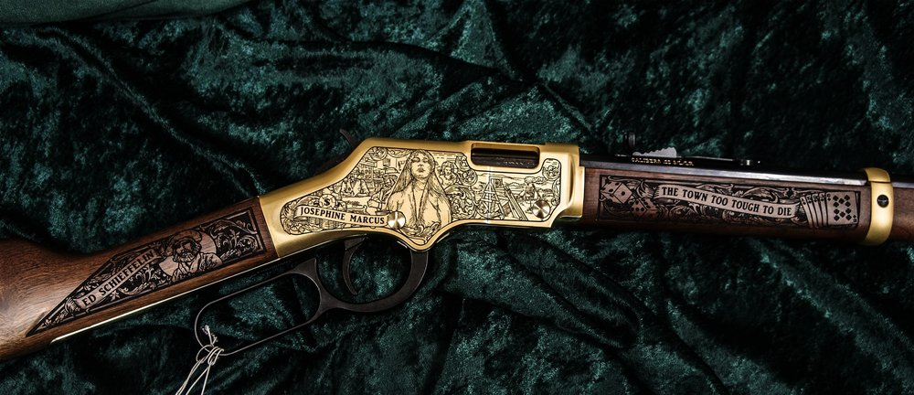 Right Side of the Tombstone, AZ Rifle with 24 Karat Gold-Plated Satin Finish.