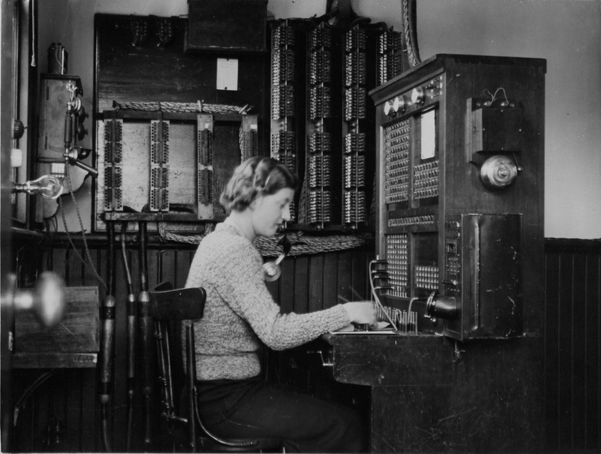 Telephonist (believed to be Miss Penrose), Kalamunda Switchboard, 27 September 1937, PMG, National Archives of Australia 5559760