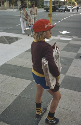 Boy Selling Daily News St George's Terrace, 1981, Richard Woldendorp, State Library of WA 215408PD