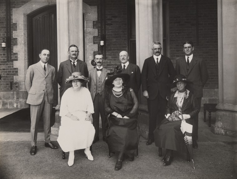 The Soldiers' Children's Scholarship Trust Committee, Govt House, Perth, 1929, State Library of WA b4689930 2. Standing L-R: A. Priestley, H. P. Colebatch (Minister for Education), Prof A. D...