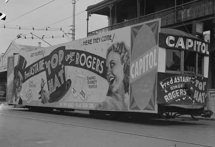 Tram Advertisement for  Top Hat , Capitol Theatre 1936, State Library of WA b3419305 1