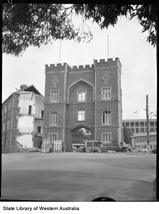 Demolition of Wings of Pensioner Guard Barracks, 1966, Hotchkin Collection, SLWA 280156PD