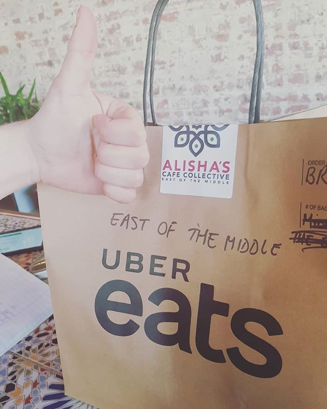 Exciiiiiting!! Peeps are happy to see us Ubereating!!! If you can't be bothered leaving home and want to still join us....order in and have an Alisha's meal delivered to your door!!! #ubereats #eastofthemiddle #alishascafecollective #vegetarian #vegan #loveyaguts #husnapasha #delivery #halumi #middleeasternfood #melbournefoodscene #foodporn