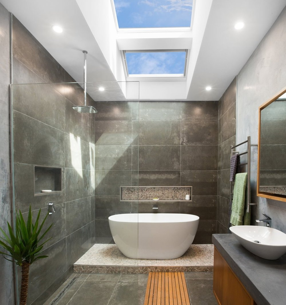 Bathrooms - Ever wondered how you could fit more luxury features into your bathroom? Consider removing your vertical window, and replacing it with a skylight. You'll have an extra wall to add a bath or that his & hers double  vanity you always wanted.