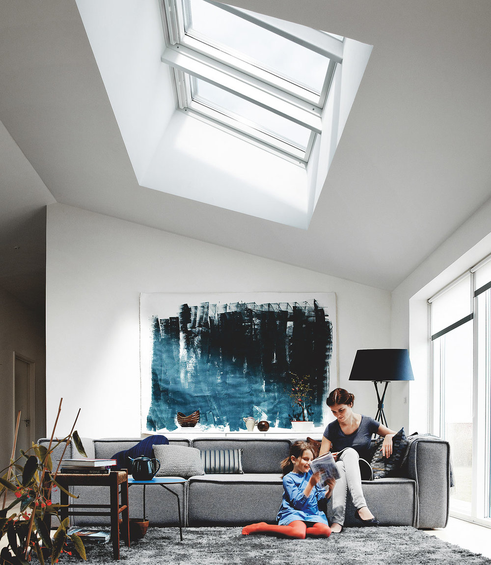 Living rooms - Skylights placed in a large ceiling will bring added light, but they can also make the space appear bigger and more inviting. VELUX skylights come in a variety of sizes to fit any application or room.