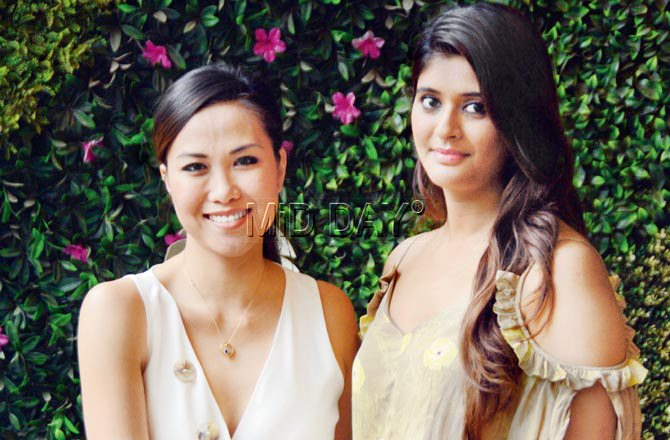 Picture of Chef Diana Chan, the winner of MasterChef Australia, 2017 (Left) and Roopanshi Bhatt, co-owner of Wine Villa at Tea Villa Cafe, Juhu in Mumbai. Pic/Satej Shinde