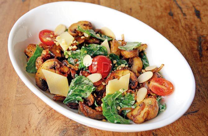 Mushroom salad. Pic/Shadab Khan