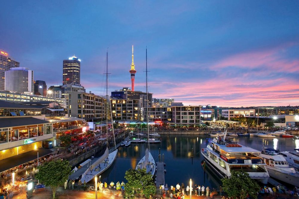 Restaurants and bars line the waterfront, with a backdrop of sheltered waters and sleek super yachts at the Viaduct Harbour.   Viaduct Harbour, Auckland By ATEED