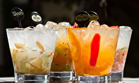 Variety of caipirinhas at the Veloso bar. Photograph: Alamy