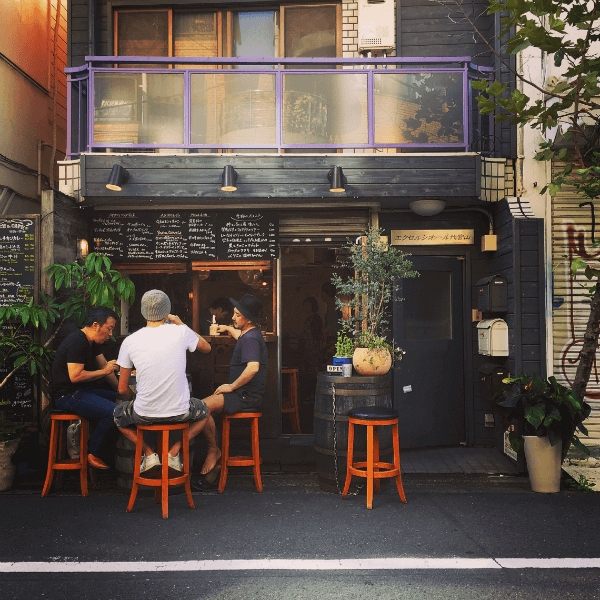 Starting the evening early at a casual bar in trendy Daikanyama
