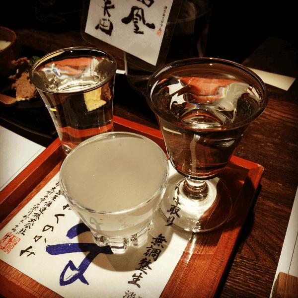 Sake tasting at an  izakaya