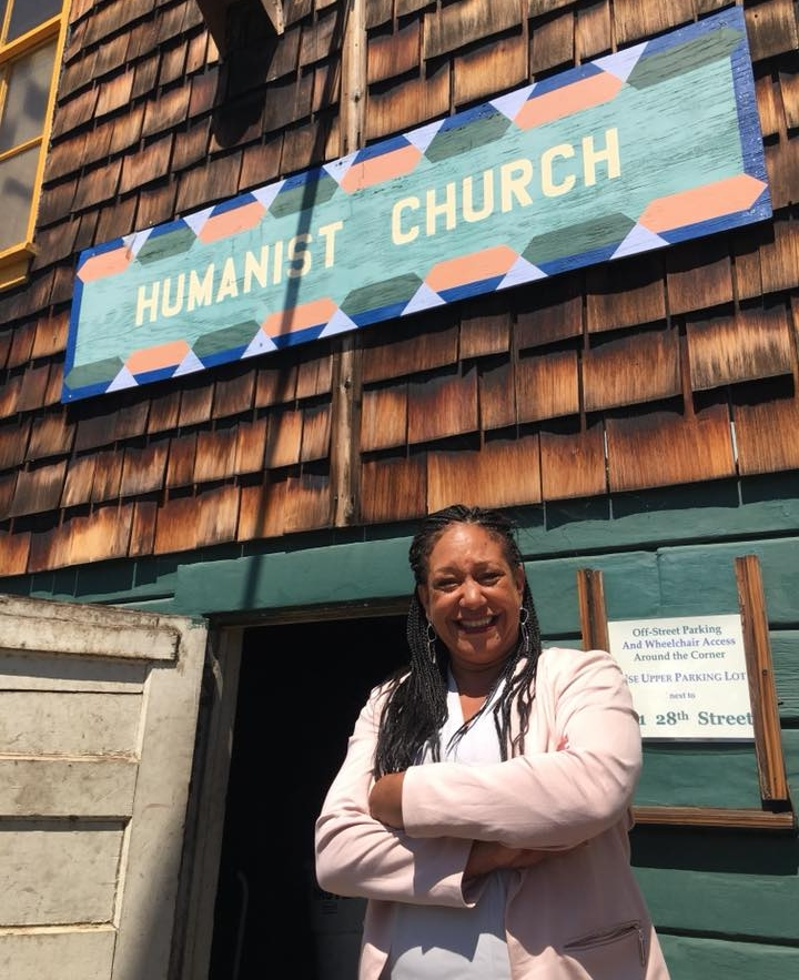 At the Humanist Hall just before winning the Wellstone Democratic Renewal Club's endorsement.