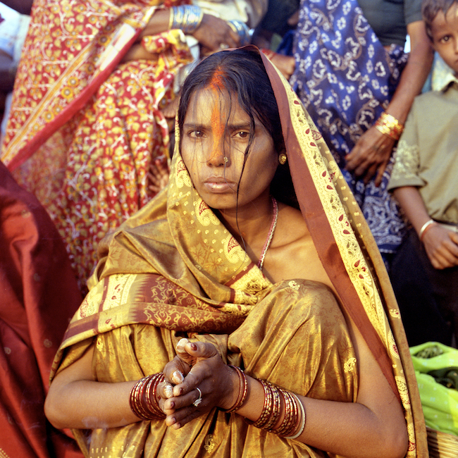 India. Bodhgaya.Chathh Puja Festival. Woman Praying. 2003.jpg