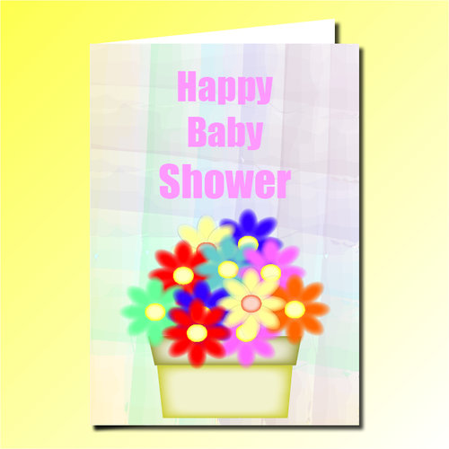 Happy Baby Shower Greeting Card Purple Pug