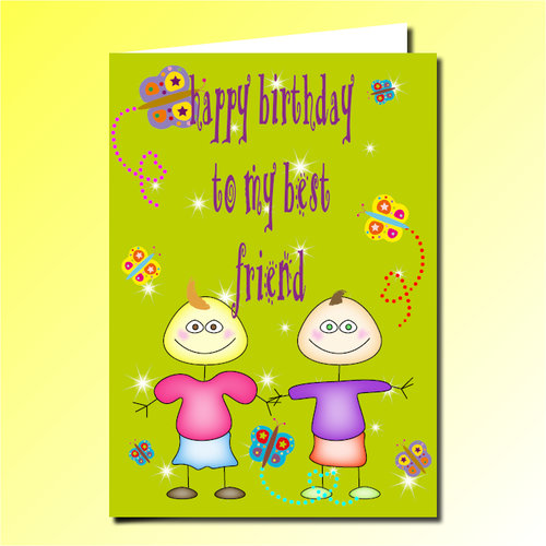 Happy Birthday To My Best Friend Greeting Card Purple Pug