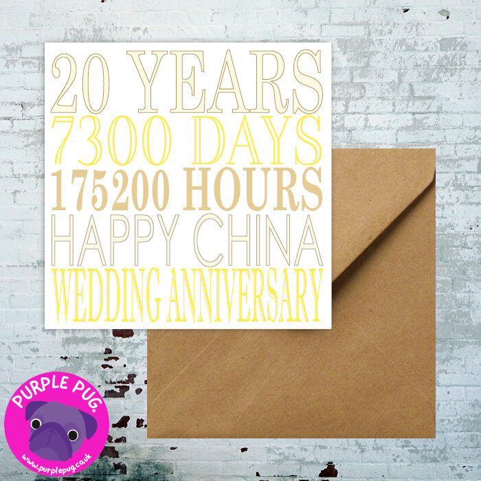Premium China Wedding Anniversary Greeting Card Purple Pug