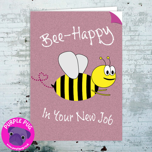 New job purple pug bee happy in your new job greeting card m4hsunfo