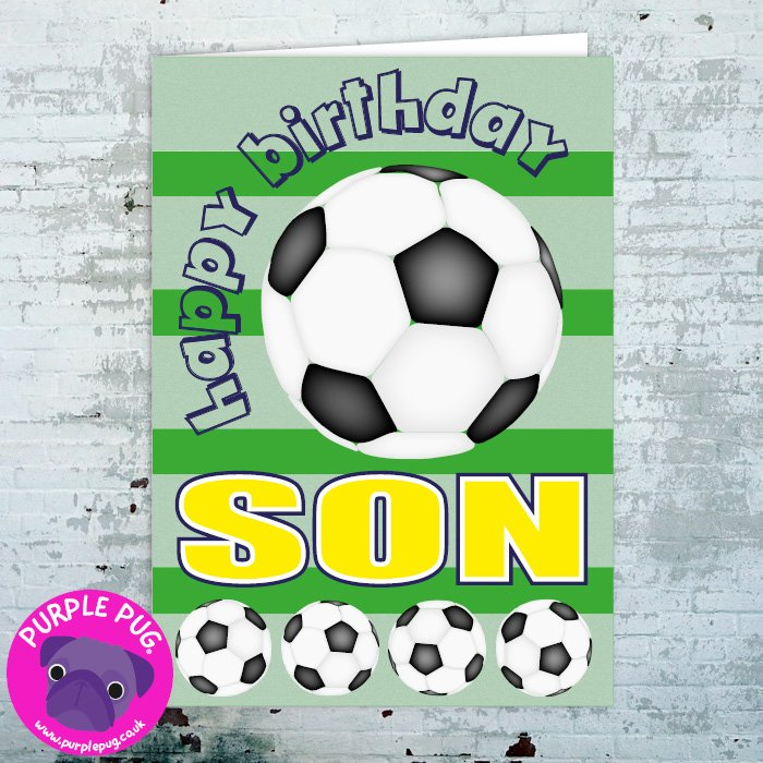 Surprising Premium Happy Birthday Son Greeting Card Purple Pug Personalised Birthday Cards Cominlily Jamesorg