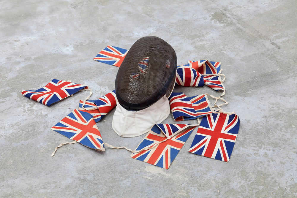 Fencing Mask and Union Jacks, Sculpture.Humber Street Gallery. Richie Culver.