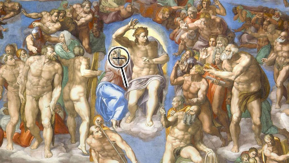 Scene from Sistine Chapel ceiling with overlay of magnifying glass
