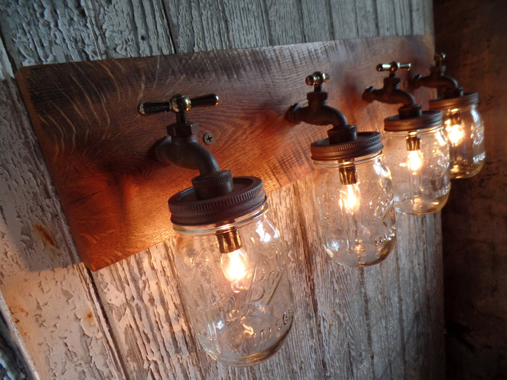 Faucet Mason Jar Wall Light