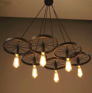 Bike Wheel Chandelier