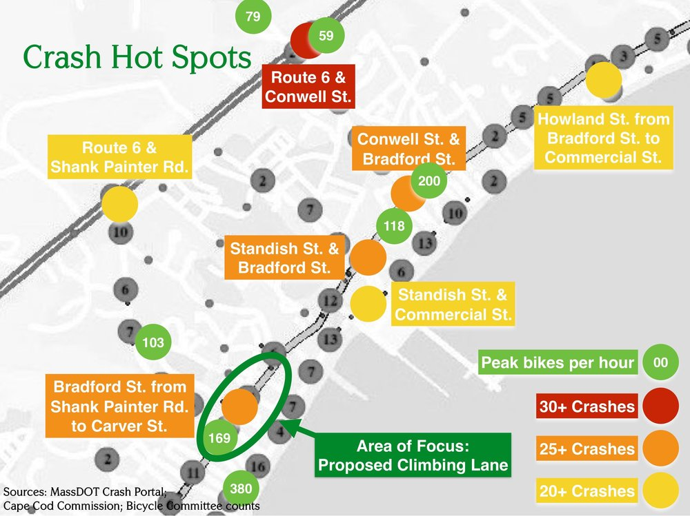 Crash Hot Spots in Provincetown (MassDOT data)