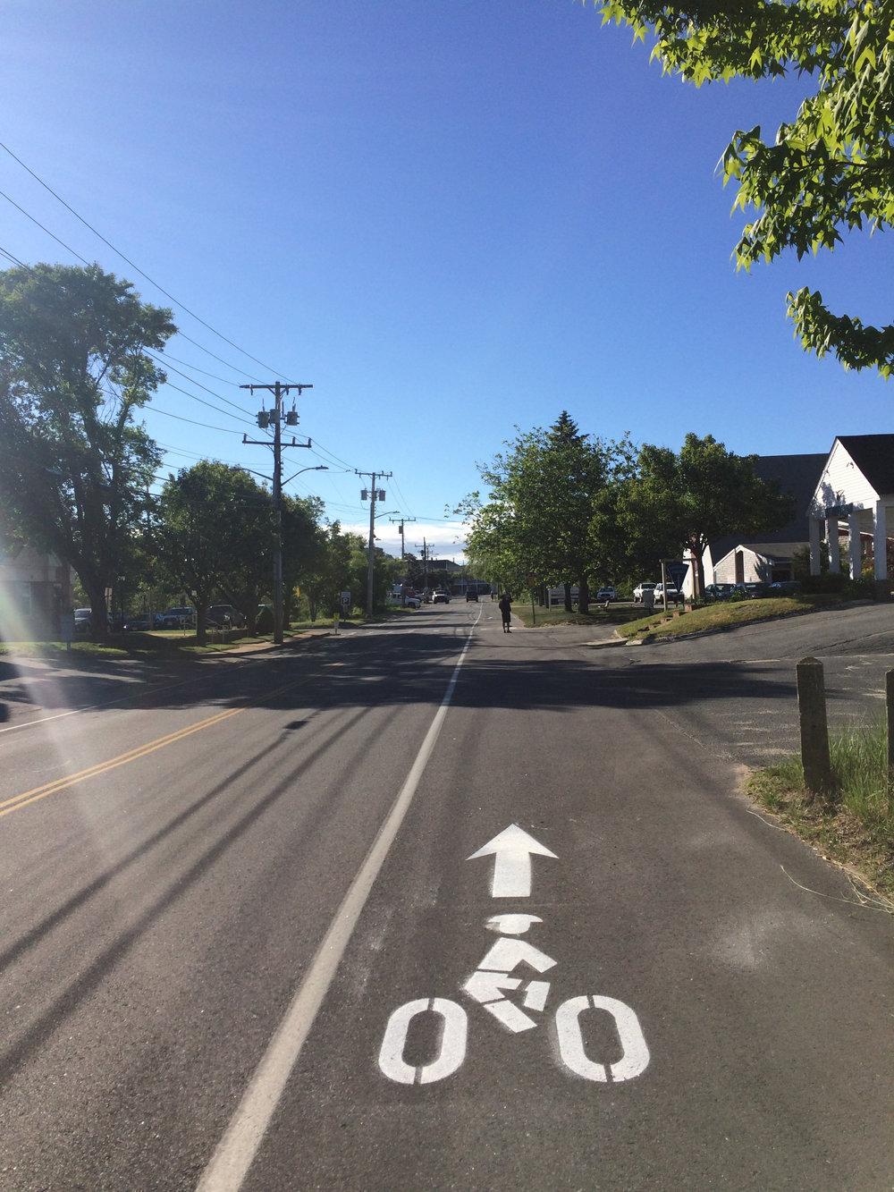 The new Shank Painter Road bike lane markings
