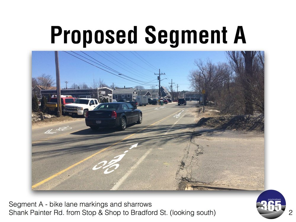 Provincetown 365's proposed layout for bike lanes and sharrows along one of three segments of Shank Painter Road.