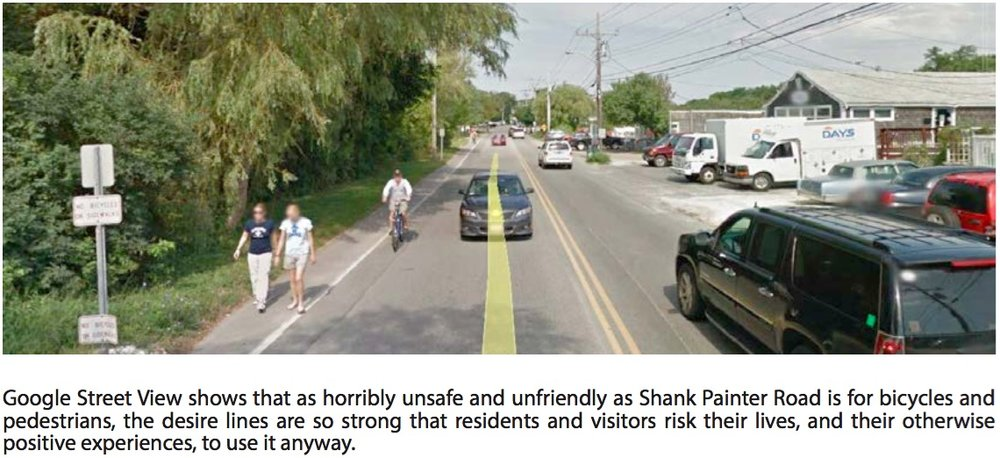 Despite the lack of sidewalks and bike lanes, Shank Painter Road in Provincetown is still heavily used by people walking and riding bikes.