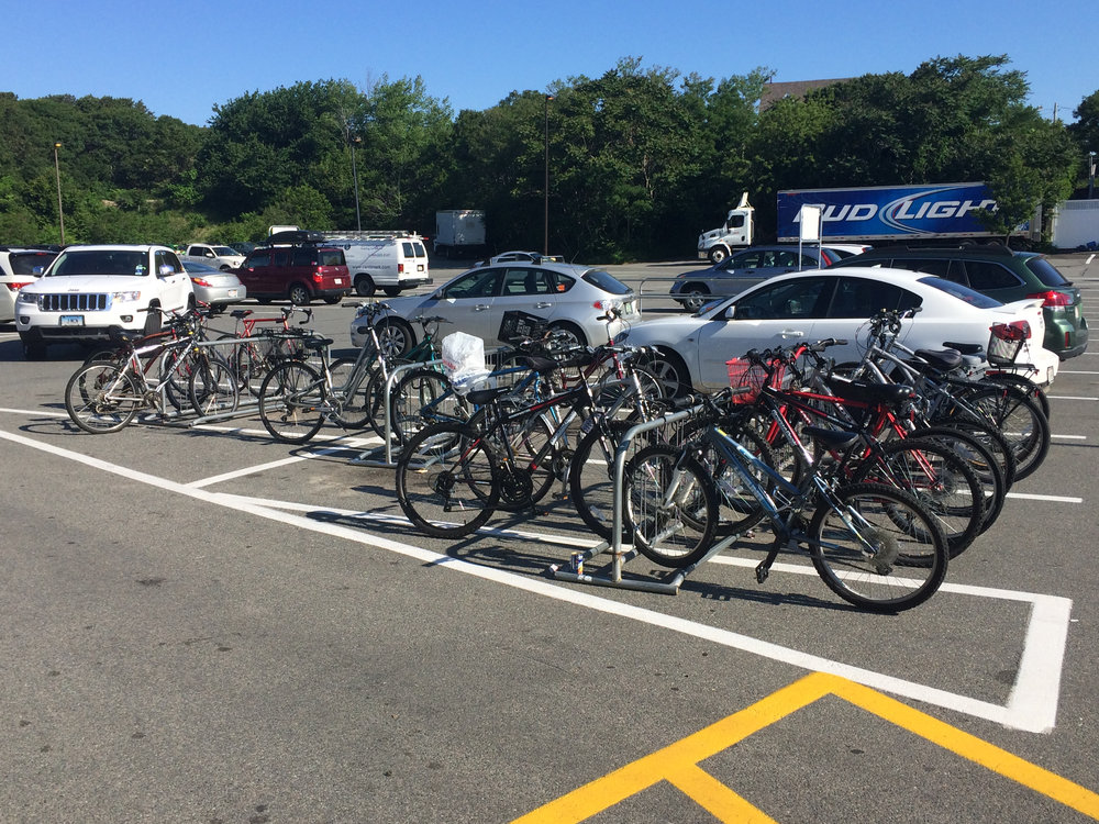 Bike racks at Stop & Shop on Shank Painter Road in Provincetown provide parking for more than 30 bicycles and only use three parking spaces.