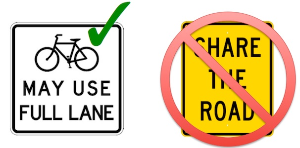 """""""Bicycles May Use Full Lane"""" is a much clearer message to everyone than """"Share the Road."""""""