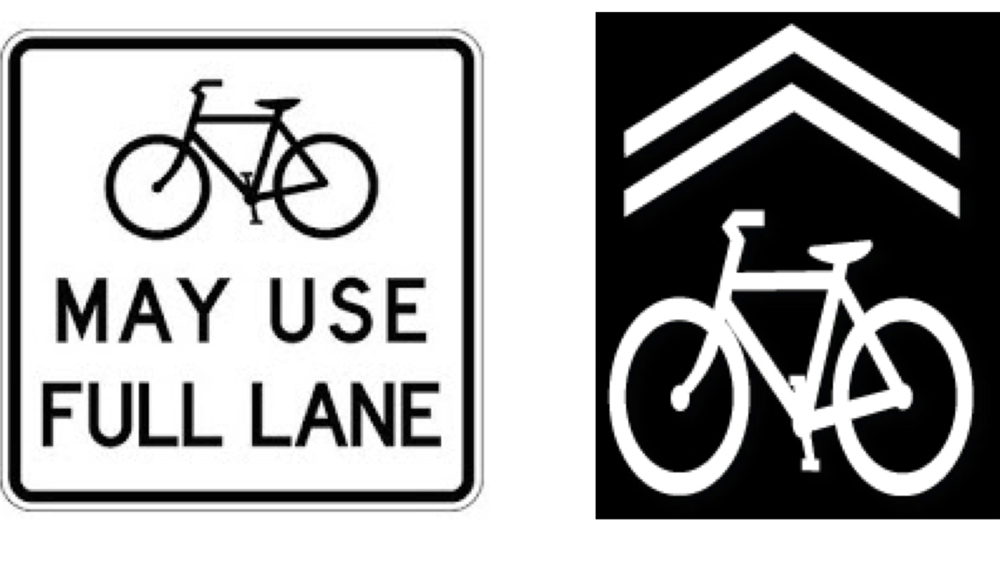 """Combining the installation of """"Bicycles May Use Full Lane"""" signs and sharrow pavement markings makes it clear that bicycles should be expected in the road."""