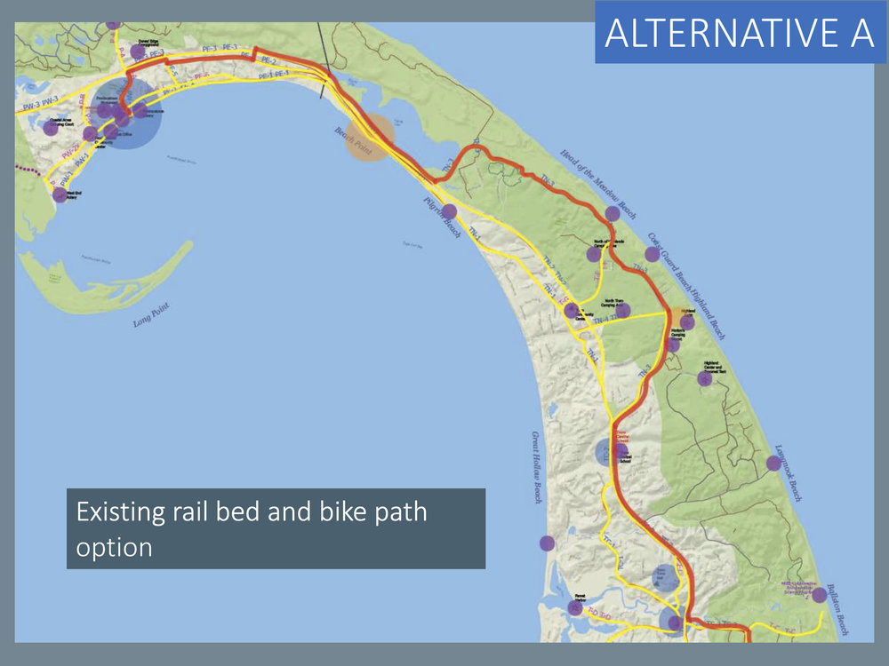 Master Plan Alternative A: Rail bed and bike paths (red line)