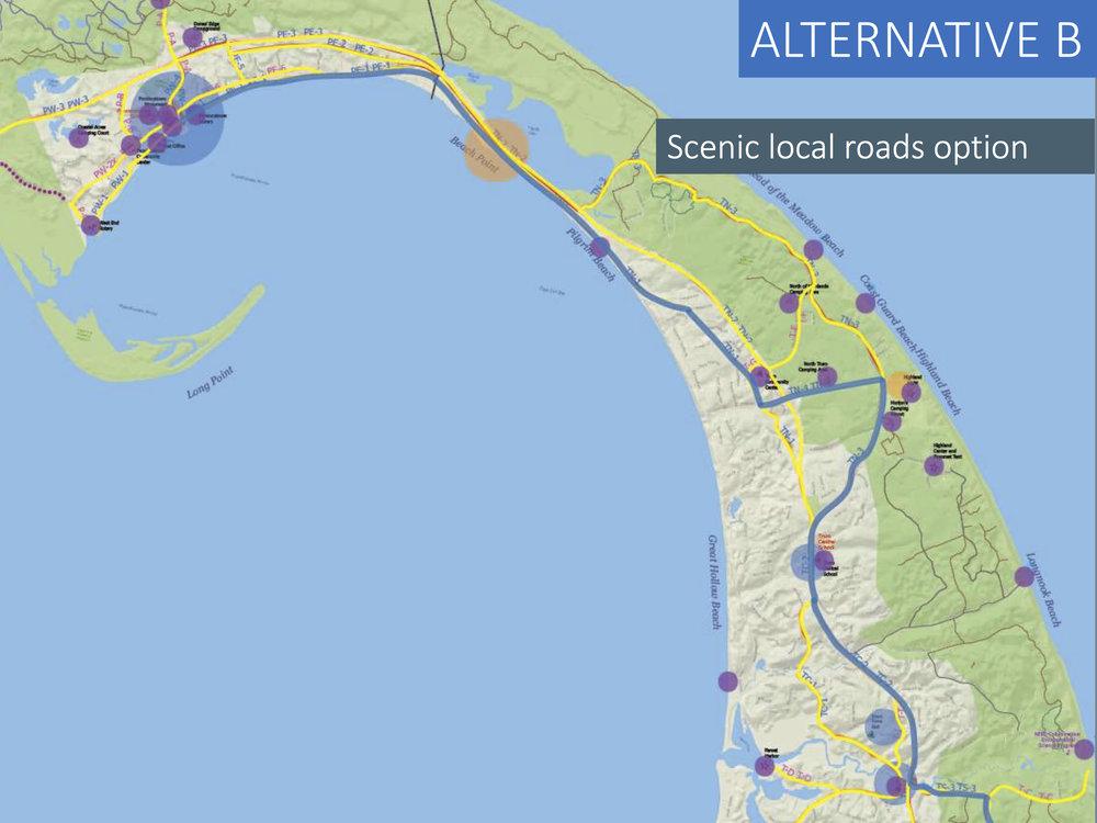 Master Plan Alternative B: Scenic local roads (blue line)